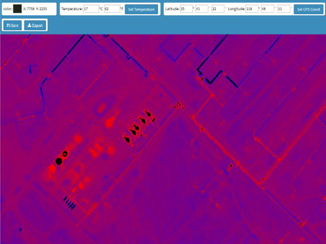 Temperature and GPS location at the click of a mouse for thermal mosaics